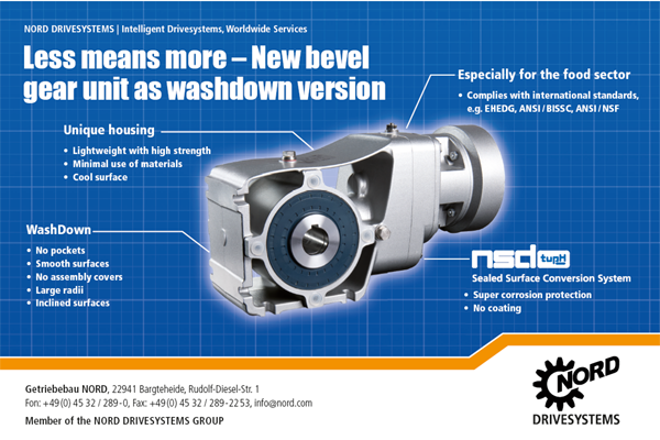 Washdown helical bevel gearboxes
