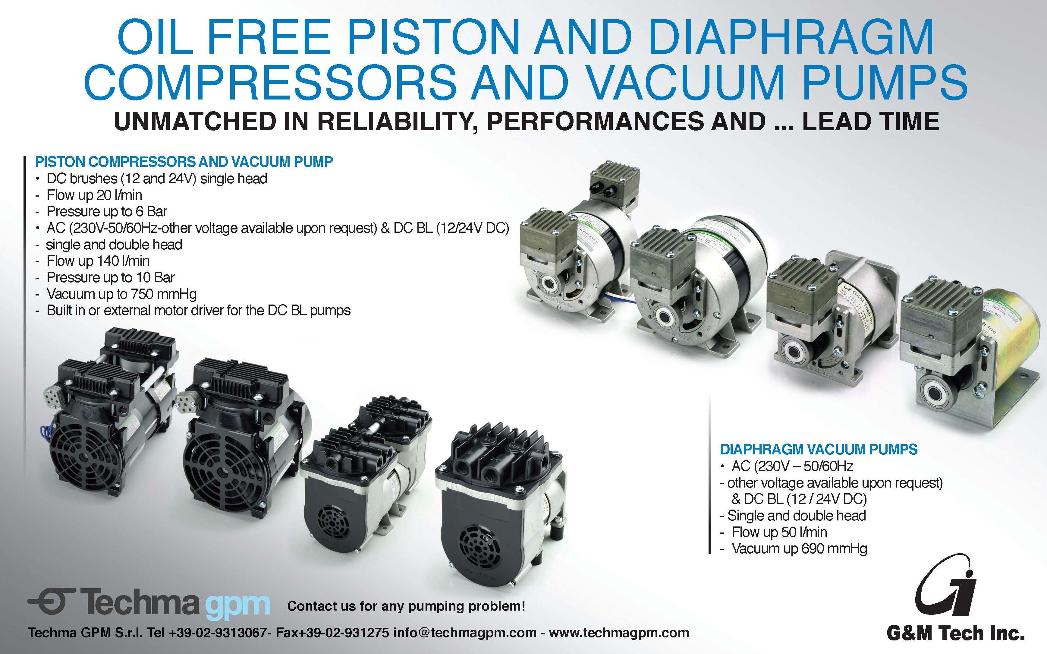 Oil Free Piston and Diaphgram Compressors and Vacuum Pumps