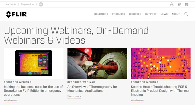 FLIR Systems Offers Webinars on Thermal Imaging cameras